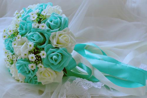 Букет свадебный бирюзовый