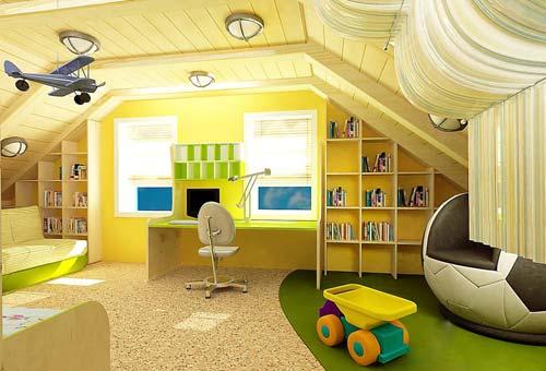 Дизайн детской комнаты на мансардном этаже